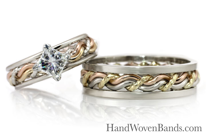 Cord of three christian ring set with a princess cut diamond. This showcases our square and round 14k white outer bands with a 14k rose, yellow, and white gold braided ring.