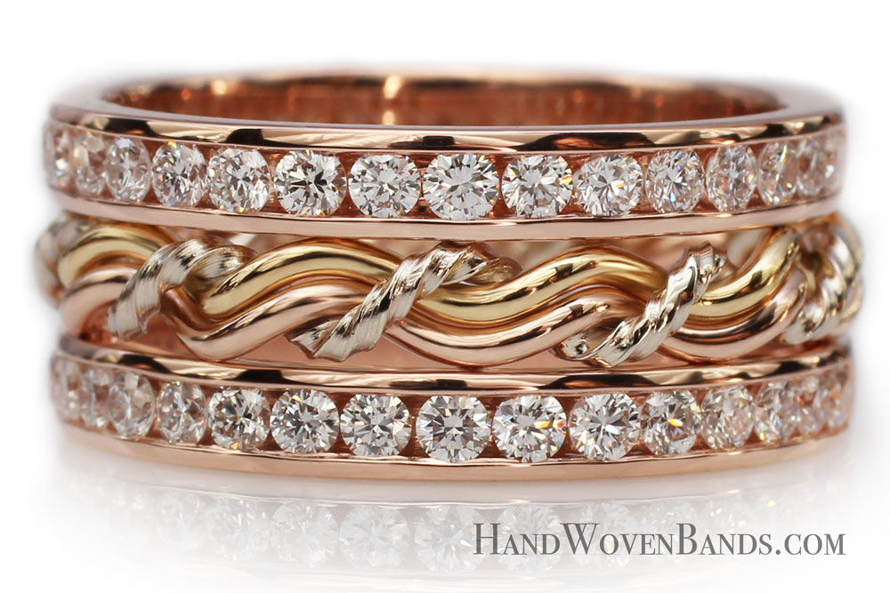 This is a unique wedding ring handmade by Todd Alan. It is woven with rose gold, white gold and yellow gold and has diamond bands surrounding it. A prime example of Todd's handmade braided wedding rings.
