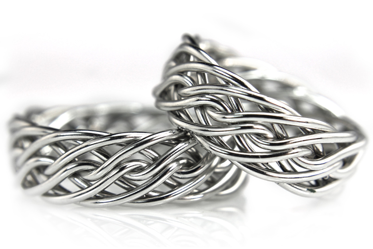 Rings made from the same braid and are both the eight strand open weave handcrafted by artist Todd Alan. You can make any two rings from the same braid at handwovenband.com