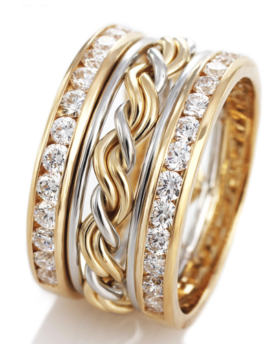 Solid Gold. Unique braided diamond ring. This unique wedding ring is woven and handmade by Todd Alan. This has our cord of three ring and then diamond outer bands surrounding it.