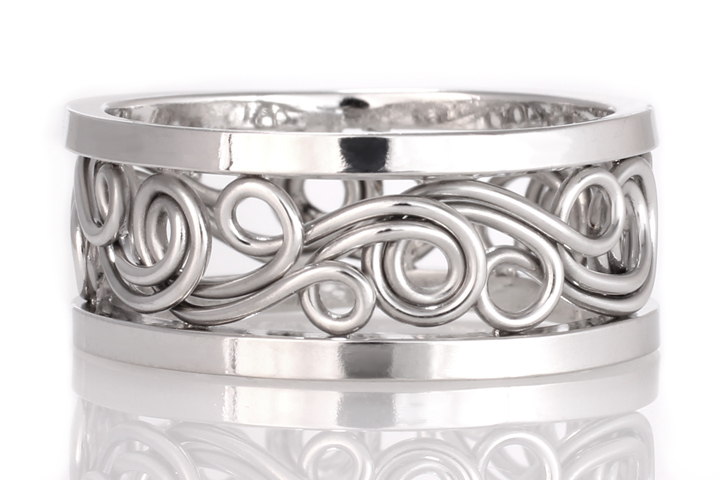 This is a swirl ring with heavier square outer bands for a more masculine look. This ring is a braided ring with platinum