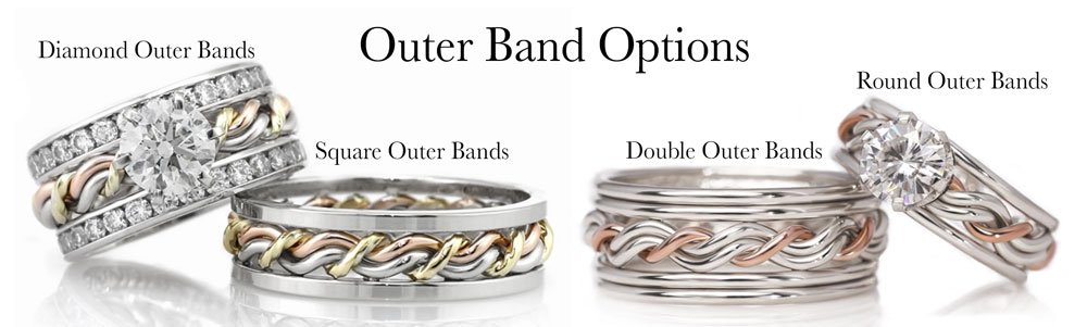 These are some options for our braided wedding rings. This shows many different outer bands you can have put on your cord of three ring