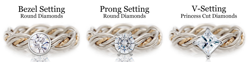 Diagram showing the difference between diamond settings including bezel, prong and v-settings. All of these are featured on Todd Alan's braided wedding rings
