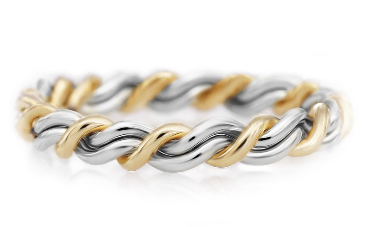 Platinum and 18k yellow gold two tone ring. Braided wedding ring handmade by artist Todd Alan. This unique ring features our cord of three rings.