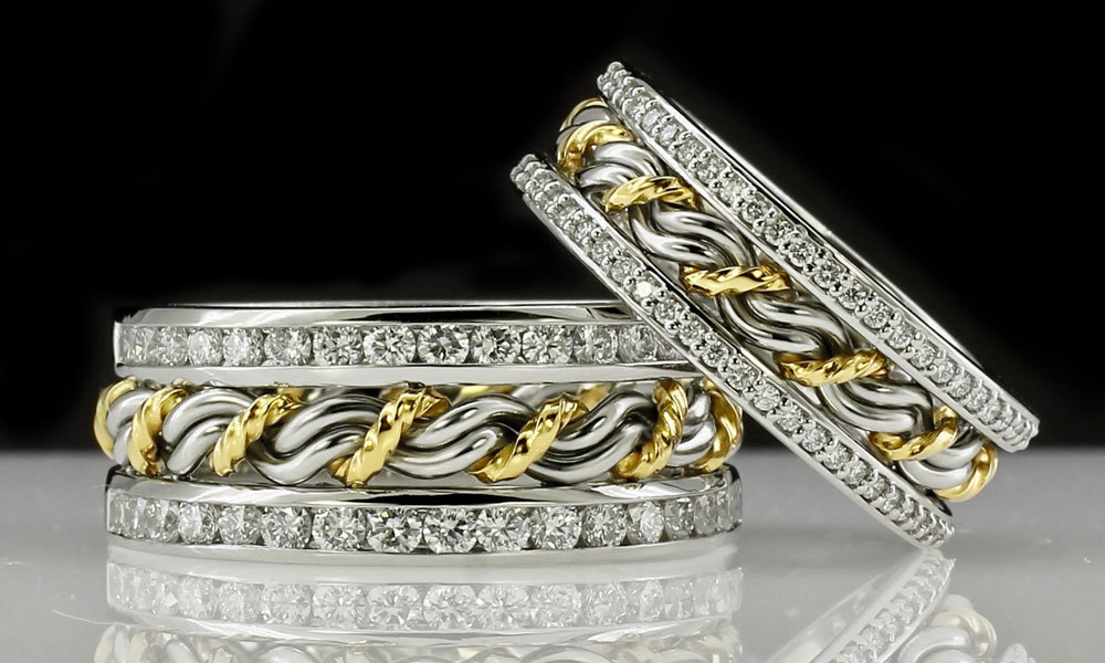 This is a comparison of our braided rings with diamond anniversary bands. The one on the left is our larger diamond bands and the one on the right is our standard diamond outer bands. Both are made from the cord of three rights.. Todd's signature braided rings