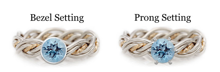 This a diagram showing the difference between bezel and prong settings using an aquamarine. The aquamarine is placed in a Todd Alan original braided ring.