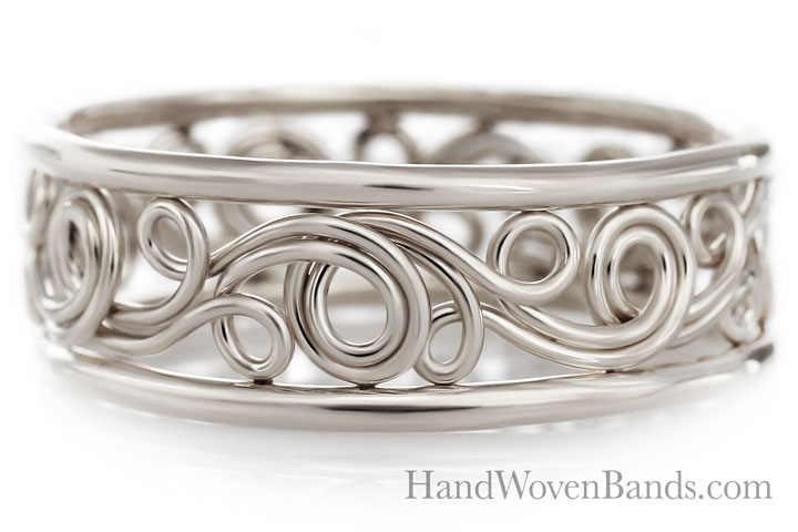 Unique Swirl ring Handmade by Todd Alan in 14k white gold
