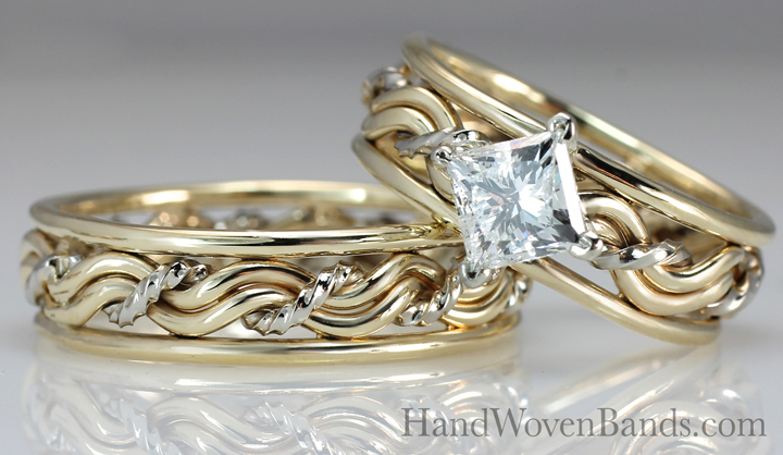 Princess cut diamond in a braided ring. This is a cord of three ring. This Christian wedding ring set is handmade by artist Todd Alan using only precious metals and a diamond