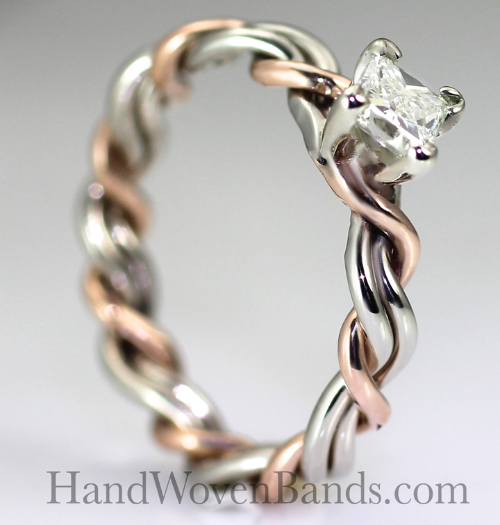 .25ct diamond set in a braided wedding ring. Handmade unique artistic ring made by Todd Alan