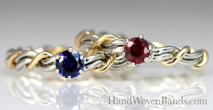 Braided wedding ring with a sapphire and a ruby in 14k white gold and 14k yellow gold