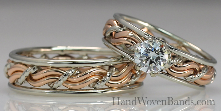 This is a braided cord of three ring with a diamond and 14k rose gold and white gold wires.