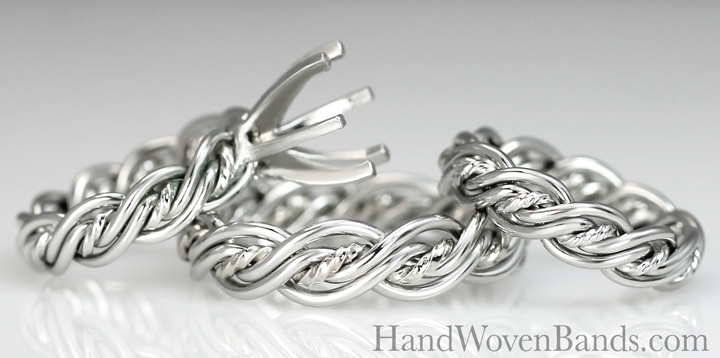 Set your own diamond in a custom braided wedding ring. You can use your own diamond in an engagement ring braided by artist Todd Alan. This photo is a Christian wedding ring set made with our cord of three in platinum.