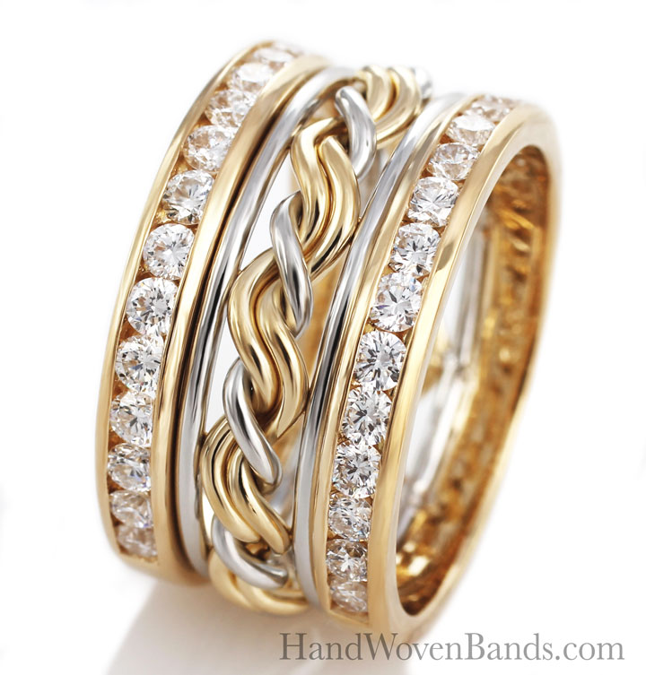Unique braided diamond ring. This unique wedding ring is woven and handmade by Todd Alan. This has our cord of three ring and then diamond outer bands surrounding it.