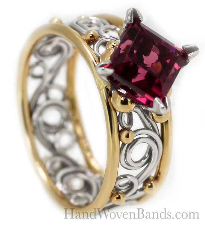 This unique swirl ring is woven with 14k yellow and white gold and mounted with a princess cut tourmaline. Todd handmade each braided ring including this swirl braid.