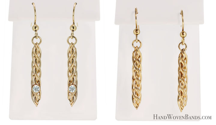This is part of Todd Alan's handwoven gifts. Each piece is handmade by Todd Alan using his signature braided style. These are woven and braided dangle earrings