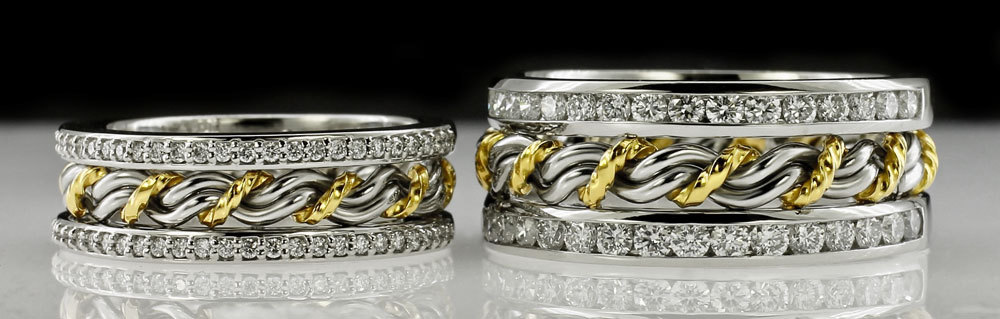 A comparison of both our cord of three diamond rings. One with large anniversary bands and the other with smaller diamonds.