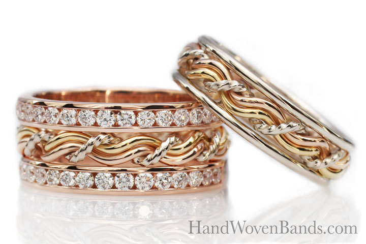 One of Todd Alan's most sunning unique diamond wedding ring sets. This has diamond bands on one and our standard cord of three braid to the right. Both are made from the same braid in all 14k rose gold, white gold, and yellow gold.