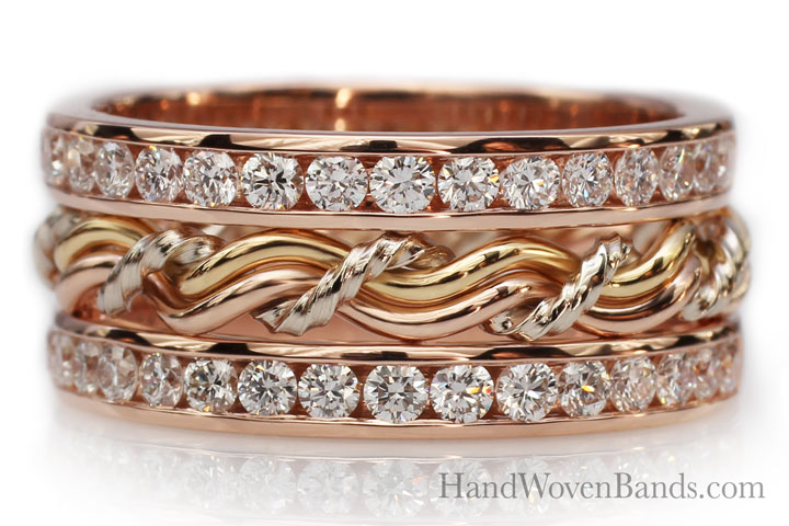 This is an example of a unique wedding ring. This braided wedding ring has small diamonds arranged around a braided ring. This is unique rose gold ring is made with three color golds by artist Todd Alan