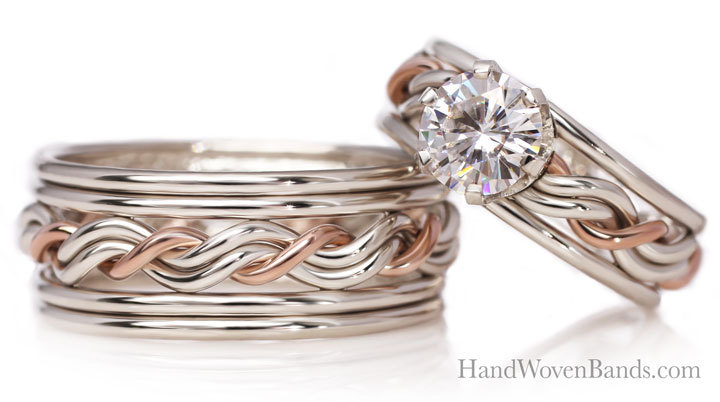 Our double outer band wedding ring set. This has a .5ct diamond outer band and is all 14k white gold with a 14k rose gold God strand braid. This is our cord of three wedding ring set.