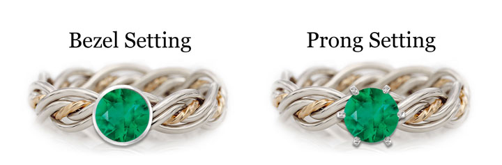 This a diagram showing the difference between bezel and prong settings using an emerald. The emerald is placed in a Todd Alan original braided ring.