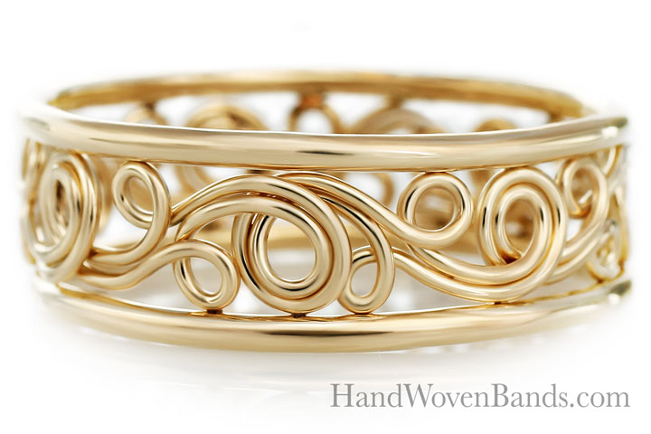 Unique Swirl ring Handmade by Todd Alan in 18k yellow gold