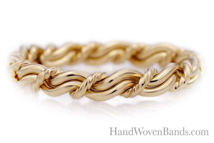 14k yellow gold braided ring. This is our cord of three in all yellow gold braided by hand by Todd Alan