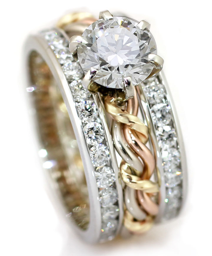 1ct diamond ring with our braided ring and diamond outer bands. One of a kind and unique handmade gold ring