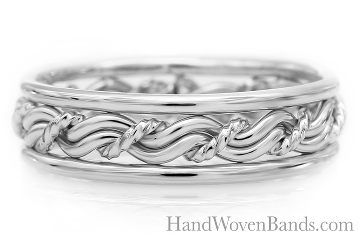 Handmade braided wedding ring. Cord of three in all platinum. This one has outer bands and a ROPE center strand