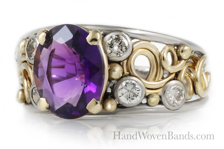 Amethyst swirl ring. Made with 14k yellow gold and many diamonds set in it. This is a unique ring designed by artist Todd Alan.