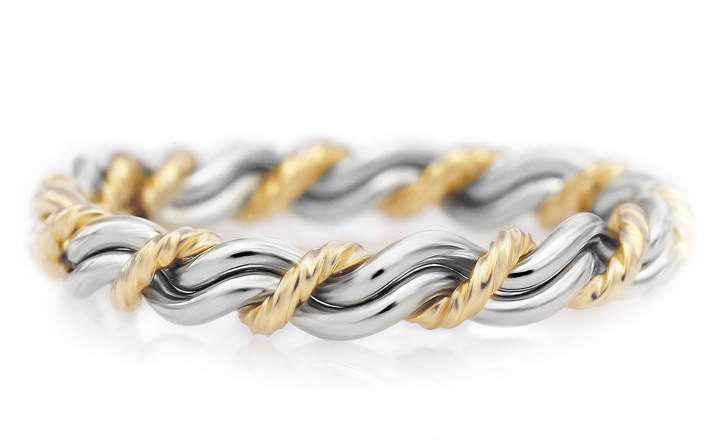 Two-tone cord of three with 18k and platinum mixed together. Handmade and woven ring