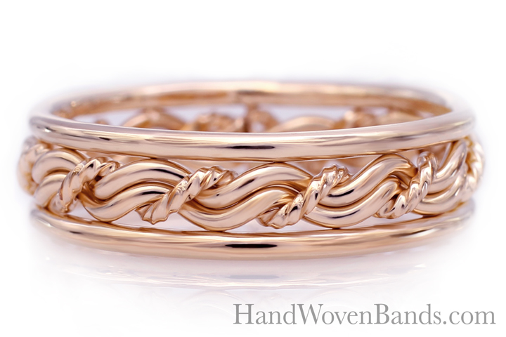 14k Rose Gold wedding ring. Braided rose gold wedding ring in our cord of three. Rose gold Christian wedding ring.