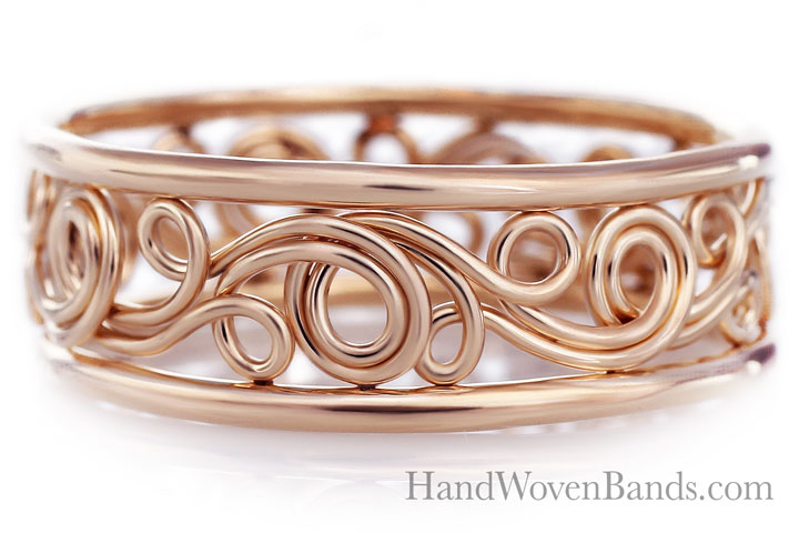 This swirl ring is a unique artistic ring handmade by artist Todd Alan. One of a kind unique ring made with all 14k rose gold. This ring is swirl and twisted to make a unique pattern and filigree.