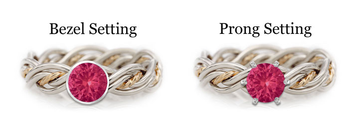 A diagram showing the difference between rubies set in bezel or prong settings. The ruby is placed in a woven braided wedding ring made by Todd Alan