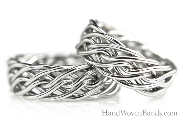 This is an example of our braided rings made from the same braid in 14k white gold. Both braided wedding rings are handmade with the eight strand open weave braid