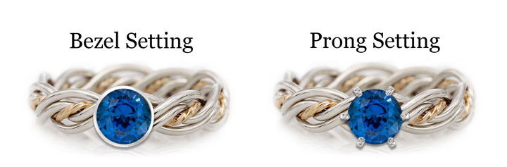 This diagram shows a sapphire in one of Todd Alan's signature braided rings in either a bezel or prong setting