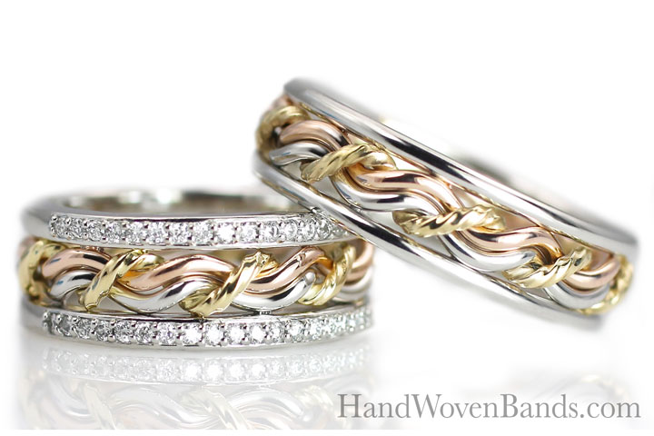 A photo of a set of our diamond wedding ring set. Handmade braided ring set in tri-tone rings.