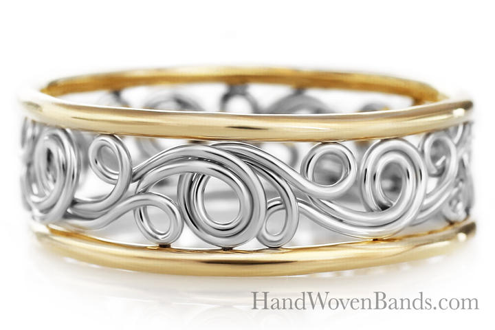 Unique Swirl ring Handmade by Todd Alan two-tone ring in 14k white gold and 14k yellow gold
