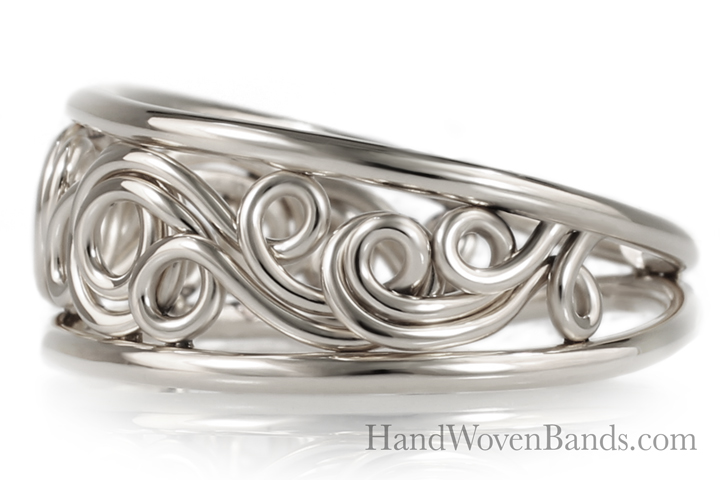 Tapered Unique Swirl ring Handmade by Todd Alan in 14k white gold