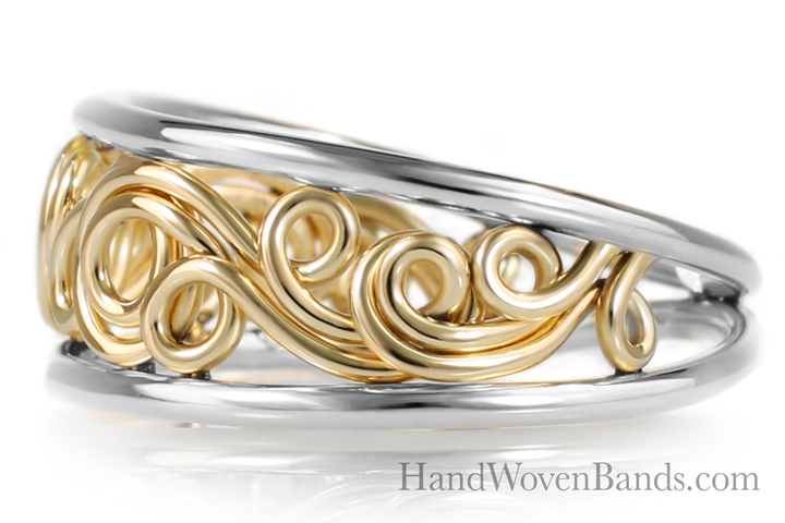 Tapered Unique Swirl ring Handmade by Todd Alan in 18k yellow gold and platinum in two-tone ring