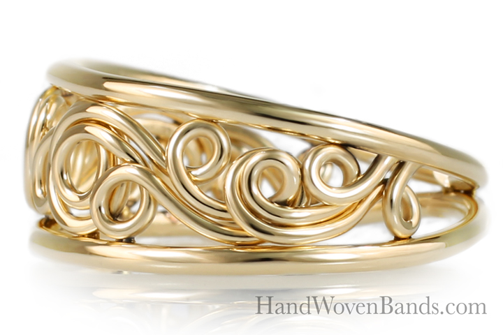 Tapered Unique Swirl ring Handmade by Todd Alan in 18k yellow gold