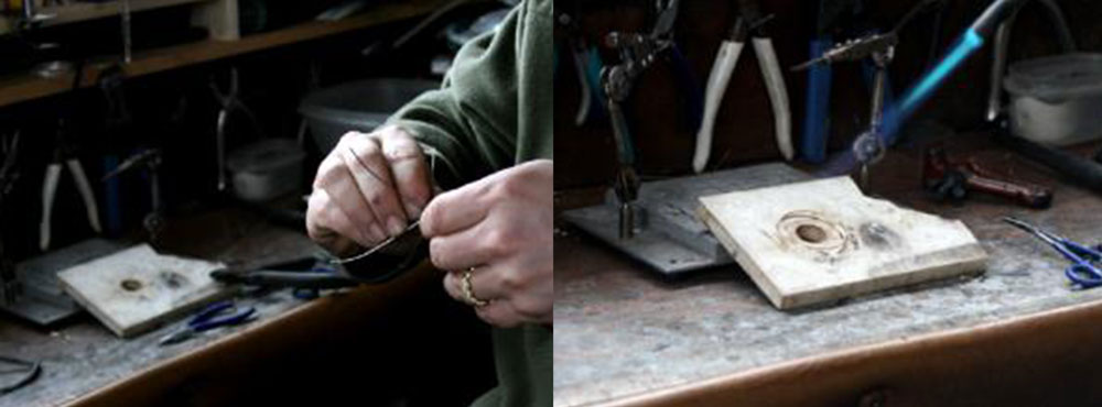 Jewelry artist Todd Alan working on twisting and braiding his braided rings. This shows his jewelers work bench