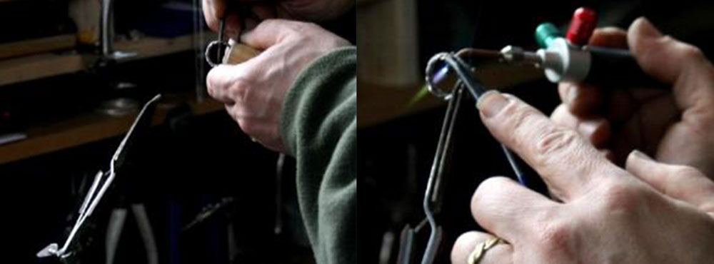 Artist Todd Alan's hands as he makes his braided wedding rings by hand.