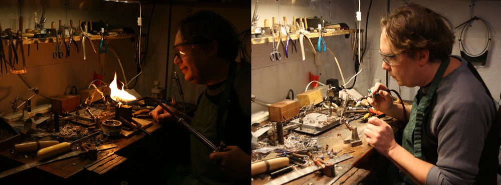 Two photos, one to the left of Jewelry artist Todd Alan smiling with a torch making his braided rings. The left is him working on his artistic braided wedding bands.
