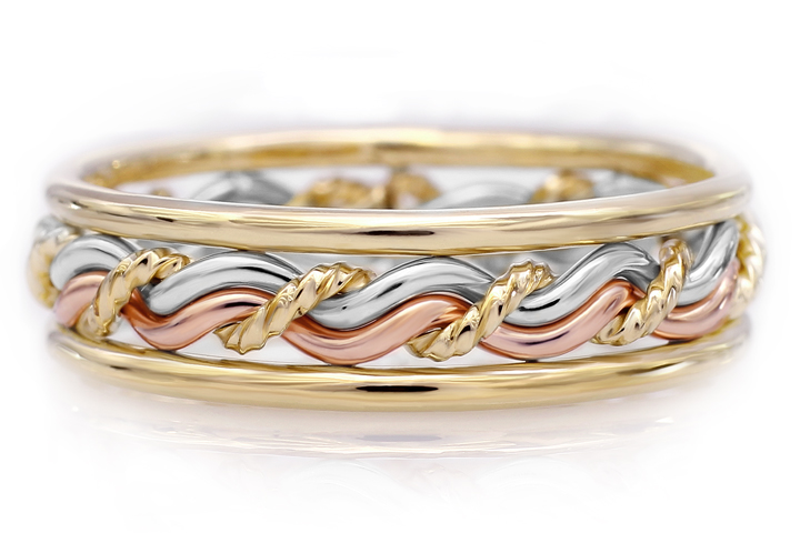 Tri-tone ring braided by an artist. This is a braided wedding ring handmade in three different colors. This braid is our cord of three ring set.