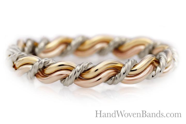 Christian wedding ring tri-tone wedding ring with three colors