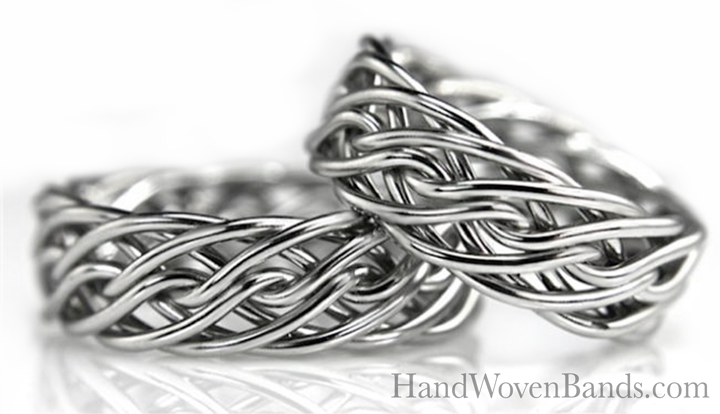 These rings were made from the same braid and are both the eight strand open weave handcrafted by artist Todd Alan. You can make any two rings from the same braid at handwovenband.com