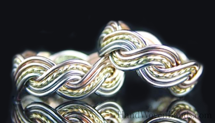 These braided rings are made using eight single wires by a master artist. This master jeweler weaves together 14k rose gold, 14k white gold and 14k rose gold to make a very unique set of wedding rings. This weave is the eight strand closed weave in tri-tone braided style