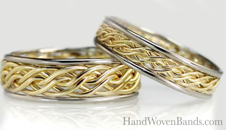 This is a set of braided wedding rings, one is the larger six strand open weave braid and the other the smaller version of that ring. Both are handmade woven rings that Todd crafts by hand and both are two-tone in 14k yellow gold and 14k white gold