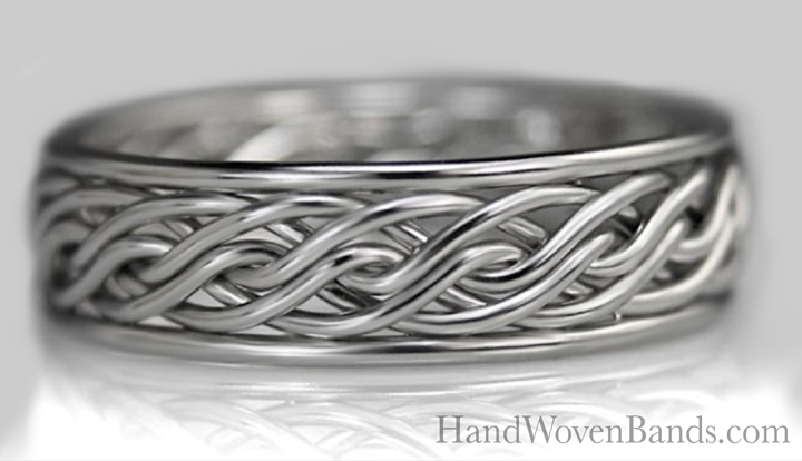 Todd Alan braided this six strand open weave braid with 14k white gold wire. This is a unique and handmade braided wedding ring.