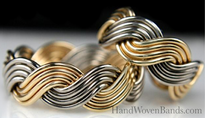 This is a set of eight strand closed weave braided rings made from the same braid. It is a two-tone ring made with 14k white gold and 14k yellow gold. This an artistic wedding ring set handmade by Todd Alan